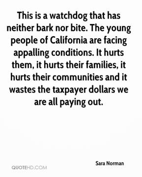 Sara Norman  - This is a watchdog that has neither bark nor bite. The young people of California are facing appalling conditions. It hurts them, it hurts their families, it hurts their communities and it wastes the taxpayer dollars we are all paying out.