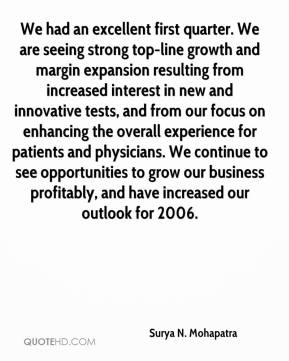 Surya N. Mohapatra  - We had an excellent first quarter. We are seeing strong top-line growth and margin expansion resulting from increased interest in new and innovative tests, and from our focus on enhancing the overall experience for patients and physicians. We continue to see opportunities to grow our business profitably, and have increased our outlook for 2006.