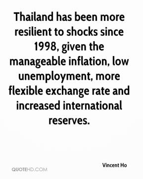 Thailand has been more resilient to shocks since 1998, given the manageable inflation, low unemployment, more flexible exchange rate and increased international reserves.