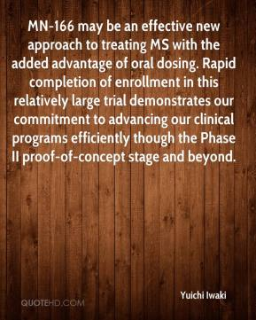 Yuichi Iwaki  - MN-166 may be an effective new approach to treating MS with the added advantage of oral dosing. Rapid completion of enrollment in this relatively large trial demonstrates our commitment to advancing our clinical programs efficiently though the Phase II proof-of-concept stage and beyond.