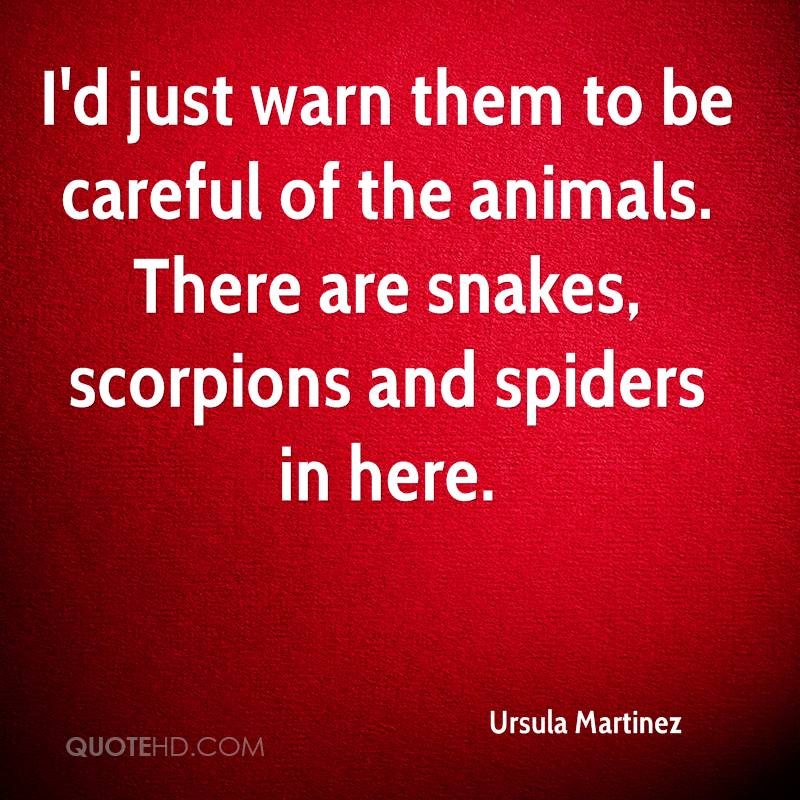 I'd just warn them to be careful of the animals. There are snakes, scorpions and spiders in here.